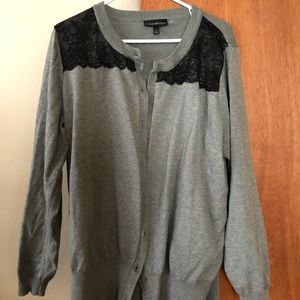 Gray sweater with black lace detail